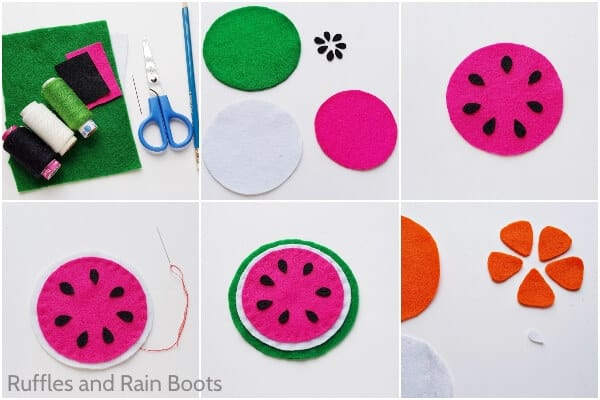 photo collage of how to make fruit coasters