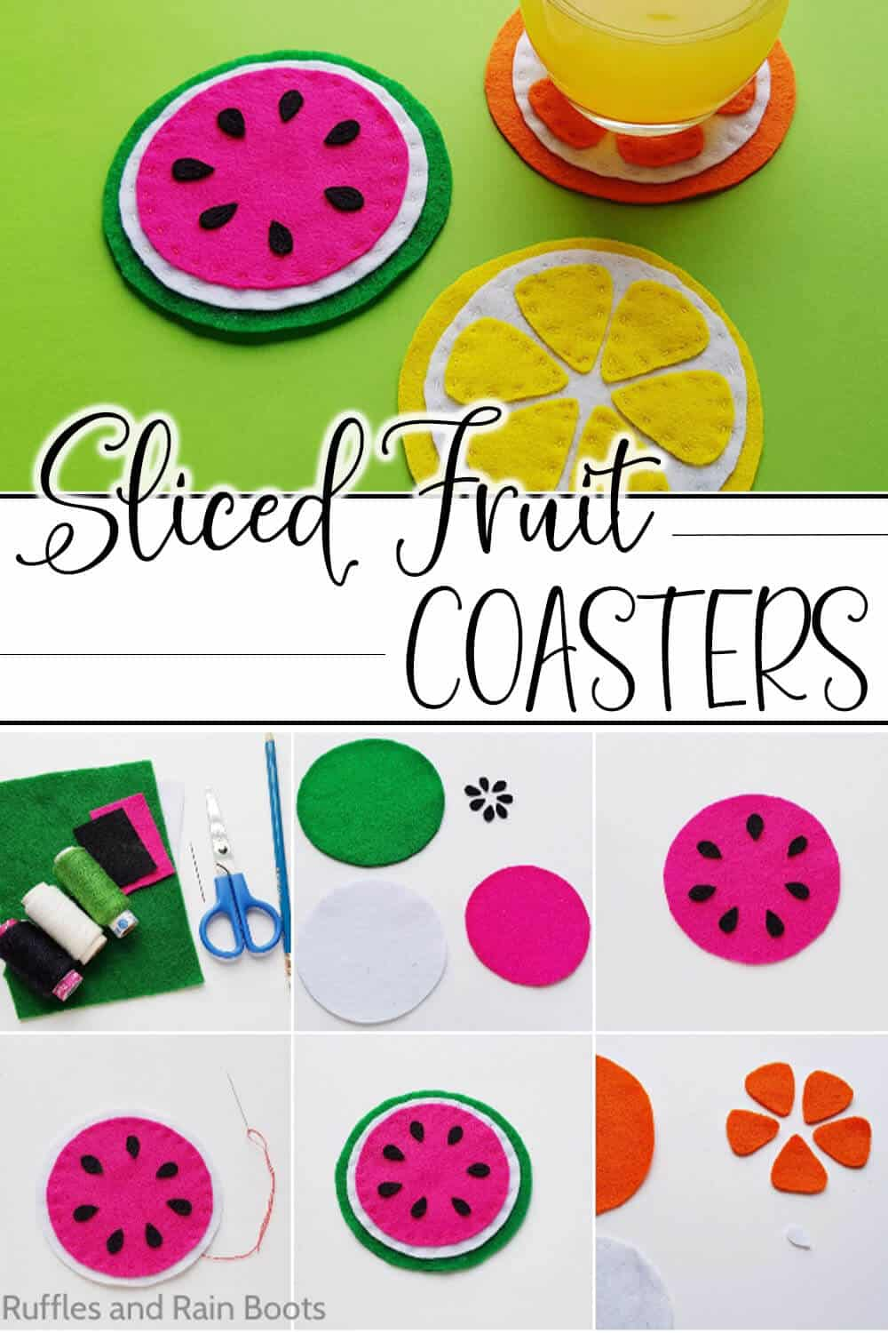 photo collage of coasters that look like fruit slices with text which reads sliced fruit coasters