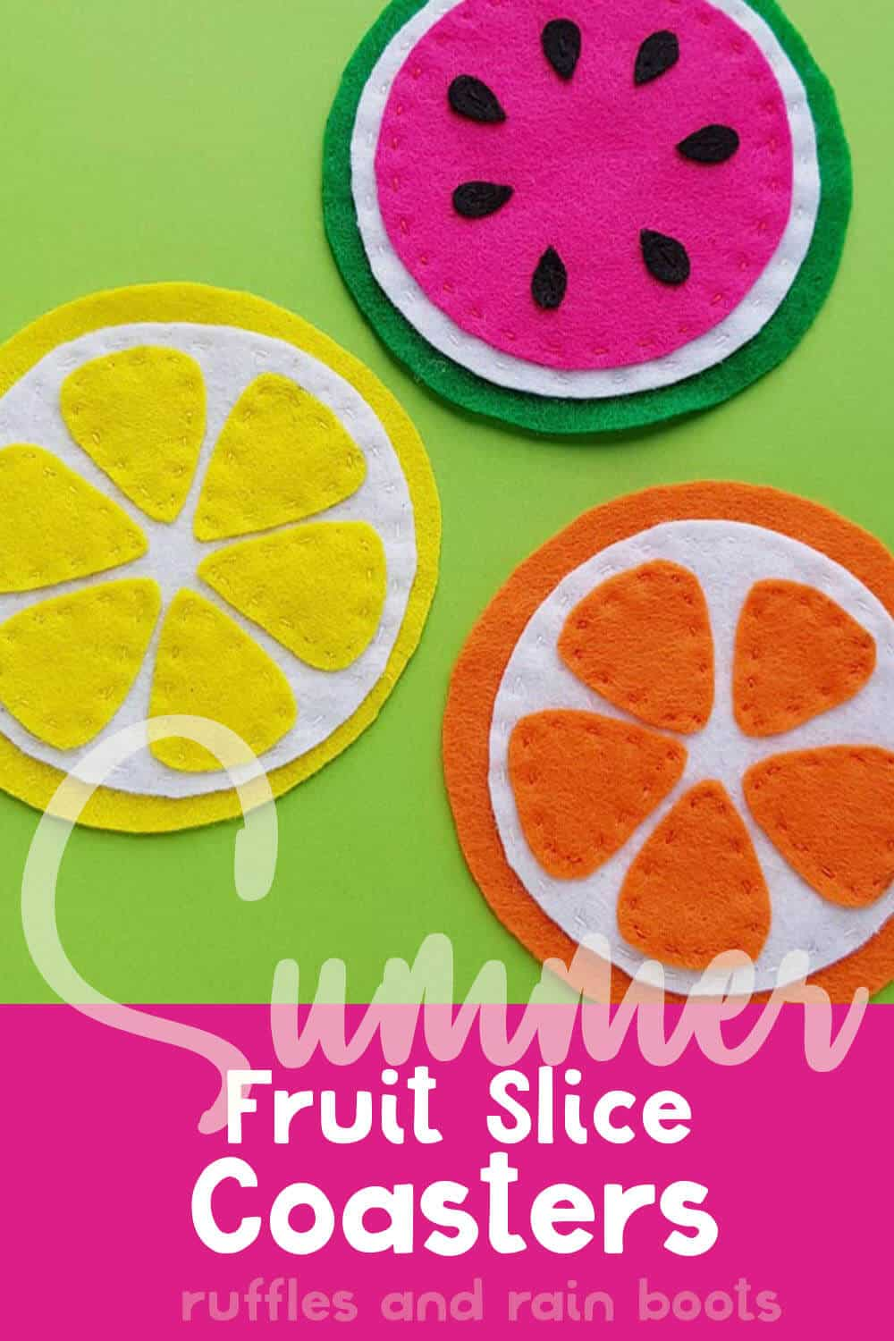overhead view of watermelon coaster, lemon coaster and orange coaster with text which reads summer fruit slice coasters