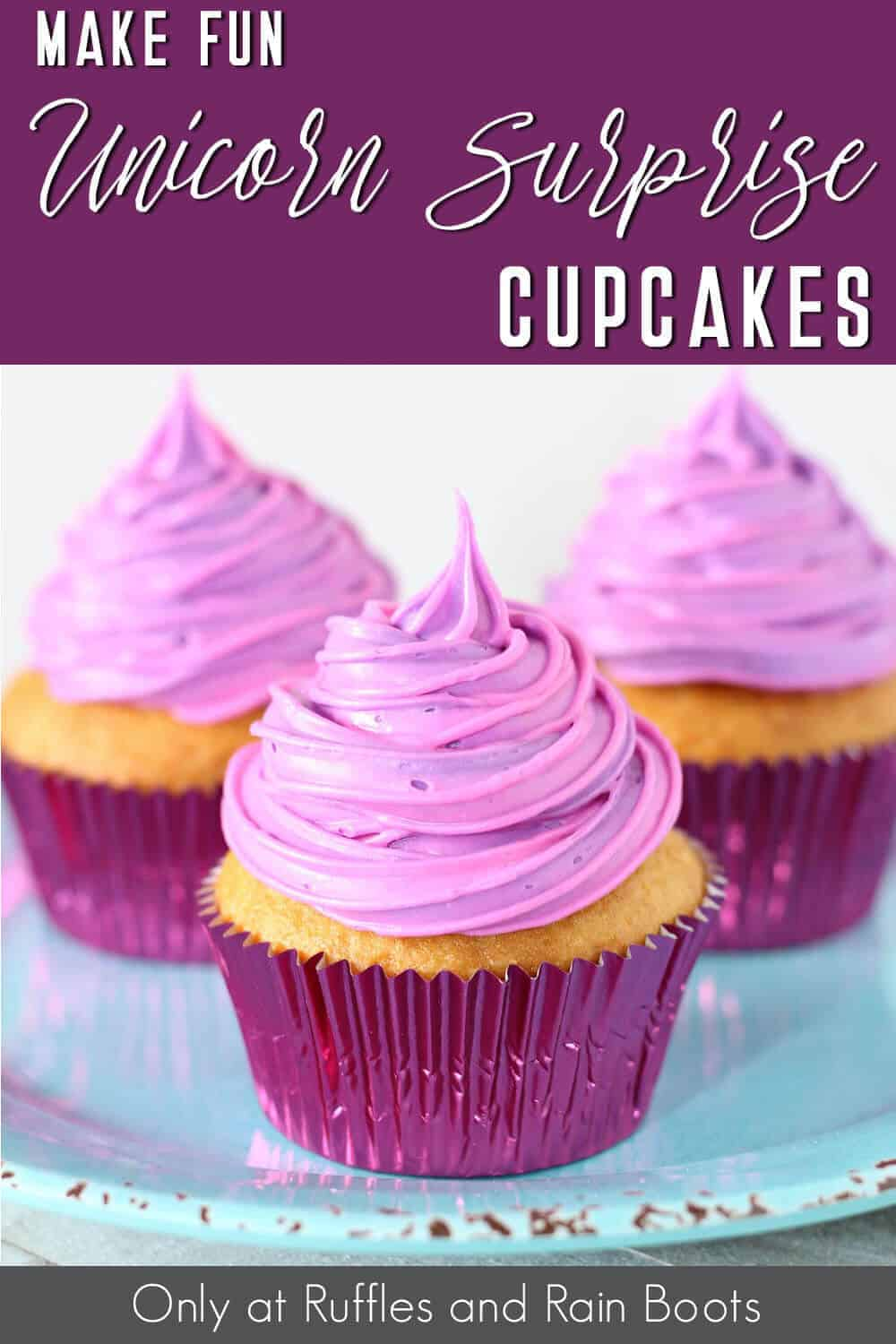 side view of purple cupcakes with sprinkles inside with text which reads make fun unicorn surprise cupcakes