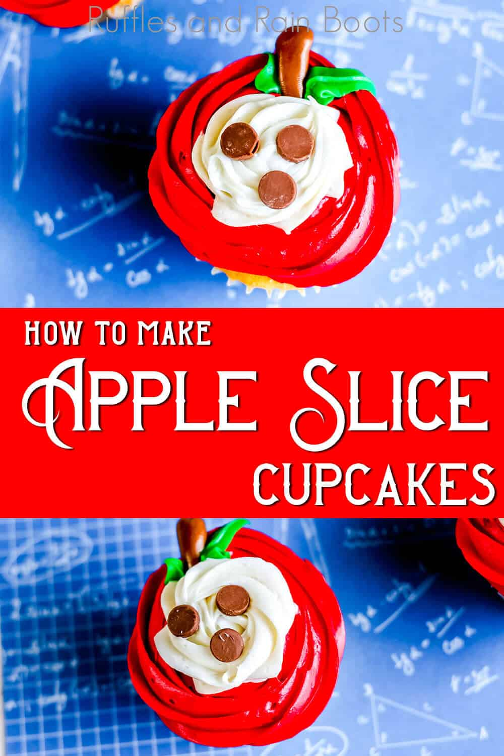 photo collage of sliced apple cupcakes with text which reads how to make apple slice cupcakes