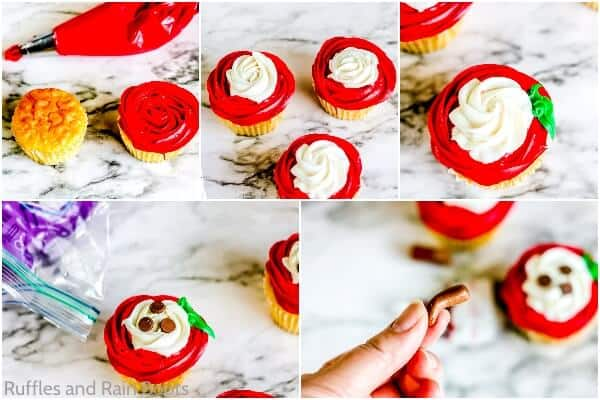 photo collage tutorial of how to make apple slice cupcakes