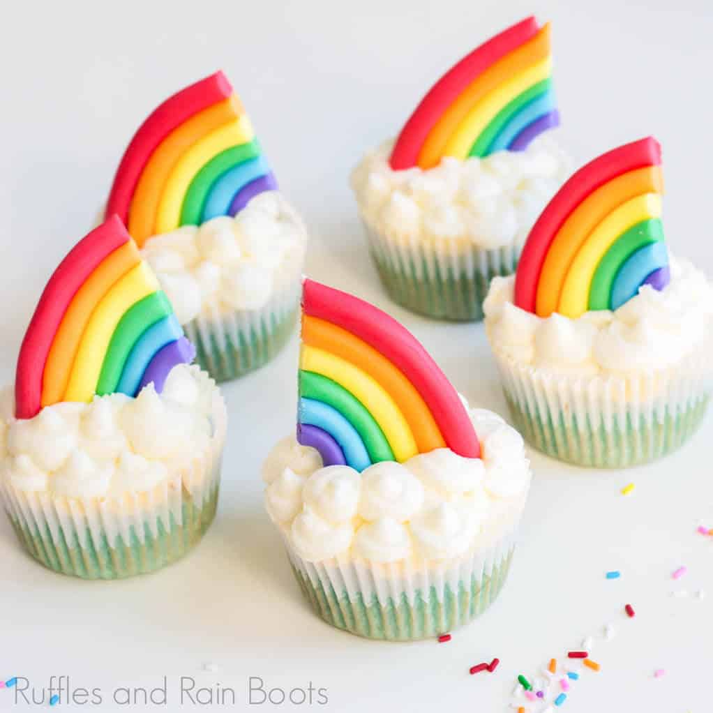 easy rainbow cupcakes with cloud frosting