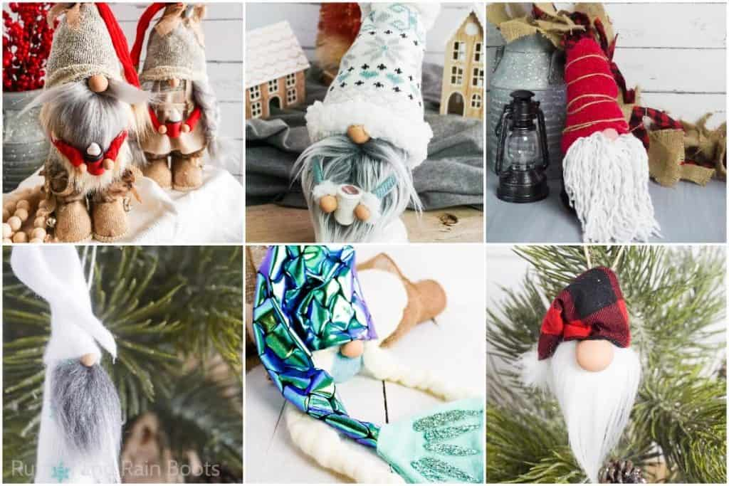 photo collage of how to make a sock gnome for farmhouse decor