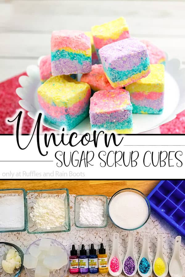 photo collage of easy body scrub cubes with text which reads unicorn sugar scrub cubes