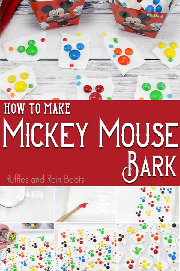 photo collage of how to make mickey mouse bark with M&Ms and chocolate with text which reads how to make mickey mouse bark