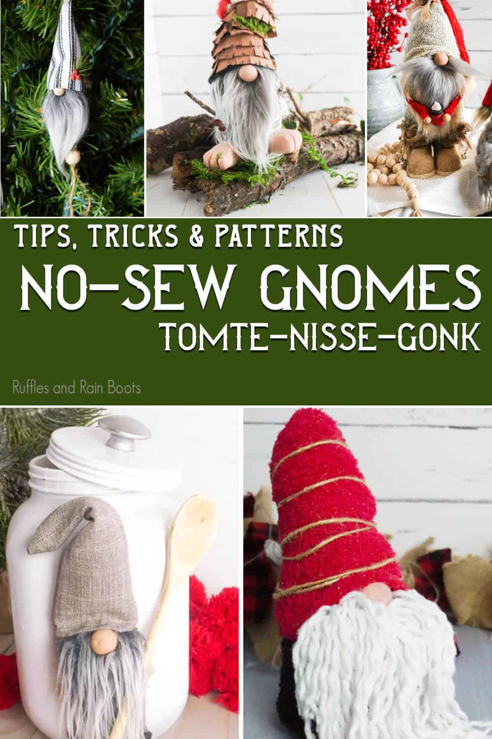 photo collage of diy no-sew gnome patterns with text which reads tips tricks & patterns no-sew gnomes tomte nisse gonk