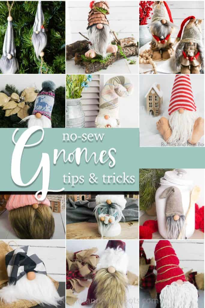 photo collage of easy no-sew gnome patterns with text which reads no-sew gnomes tips & tricks