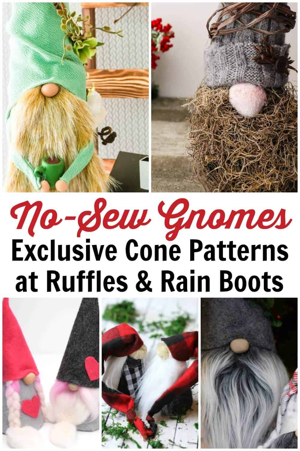 collage of no-sew gnomes made with cones with text which exclusive cone gnome patterns