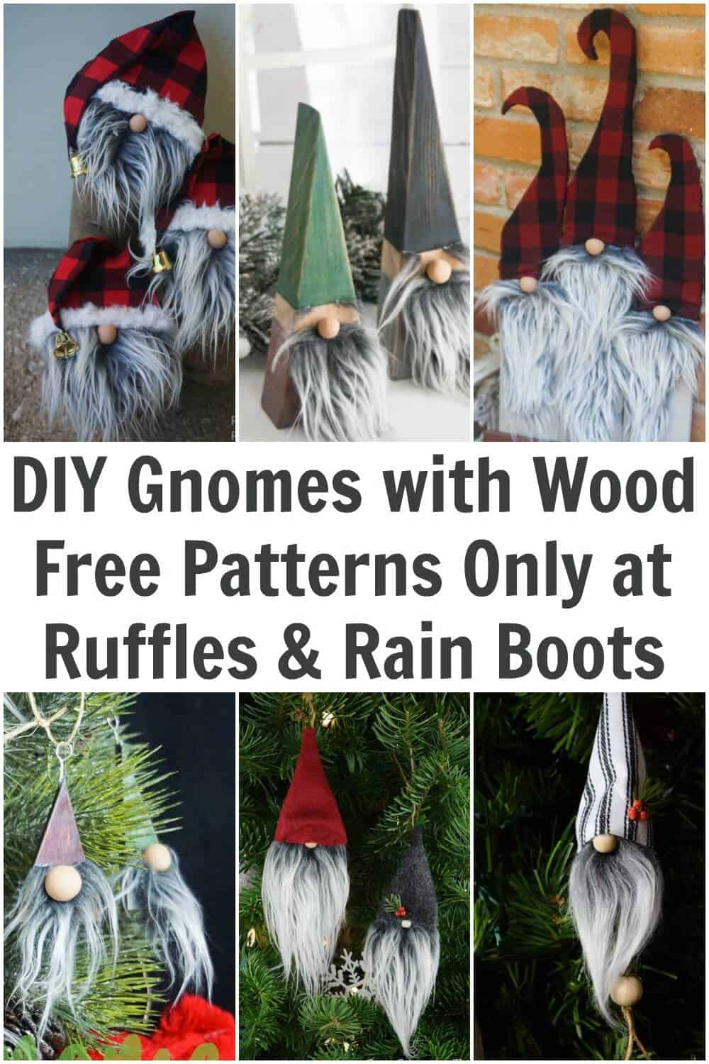 six image collage of wood gnomes and ornaments with text which reads diy gnomes with wood free patterns