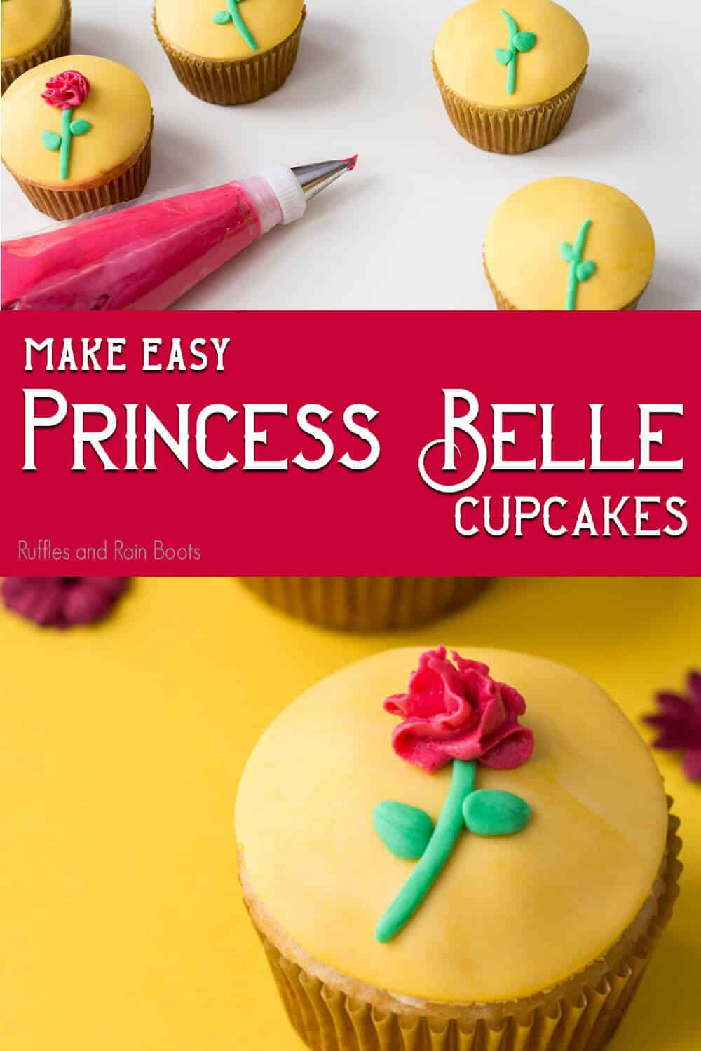 photo collage of princess belle cupcakes with text which reads make easy princess belle cupcakes