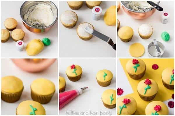 photo collage of how to make belle cupcakes beauty and the beast