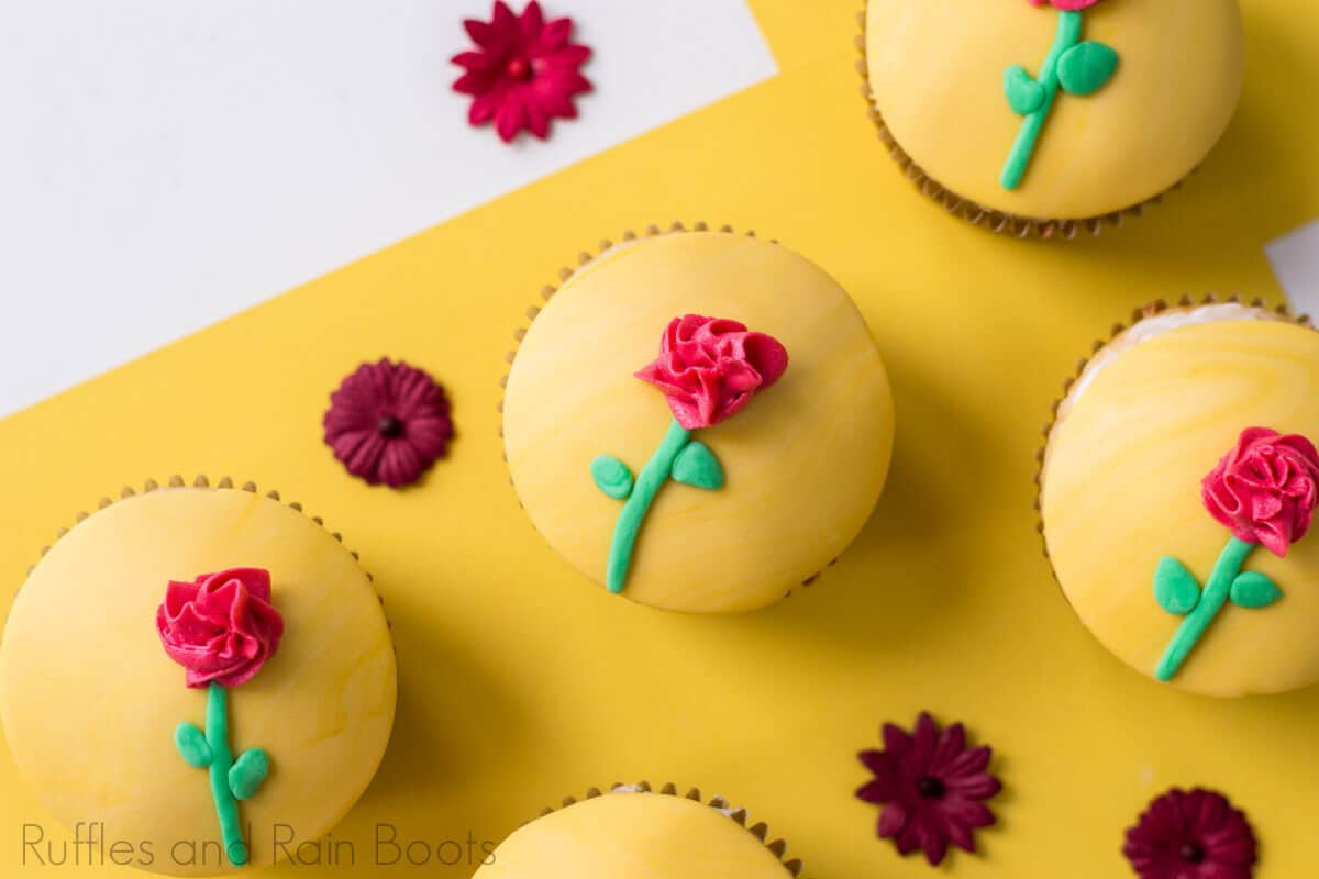easy Belle cupcakes for Beauty and the Beast party