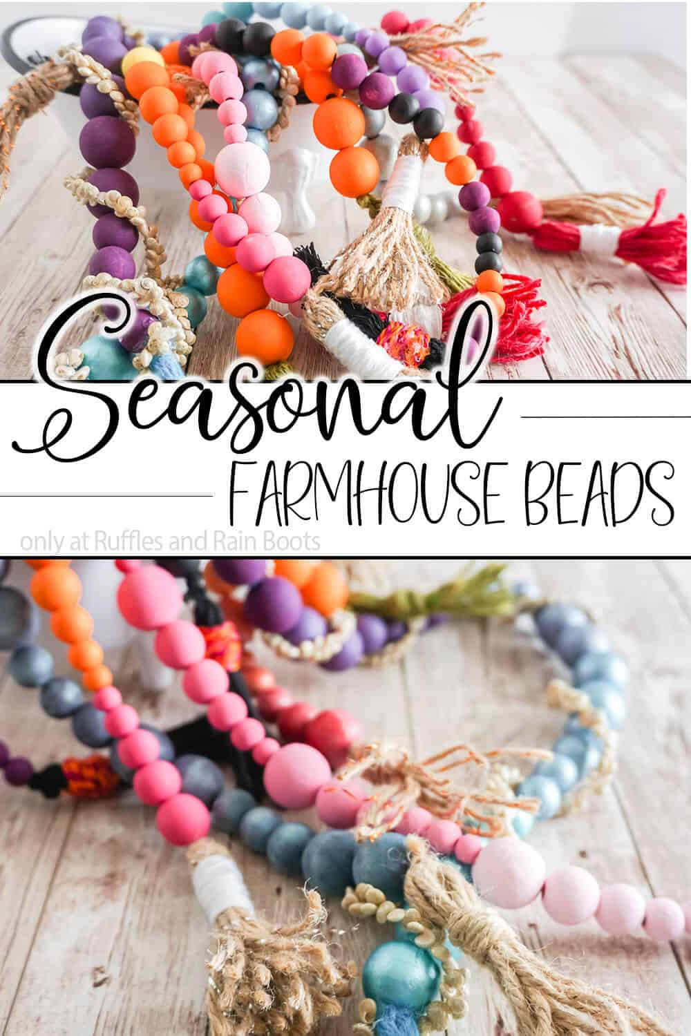 photo collage of holiday farmhouse bead diy craft with text which reads seasonal Farmhouse Beads