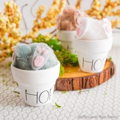 This Bunny in a Pot Craft is the best Rae Dunn Cricut Craft for Easter