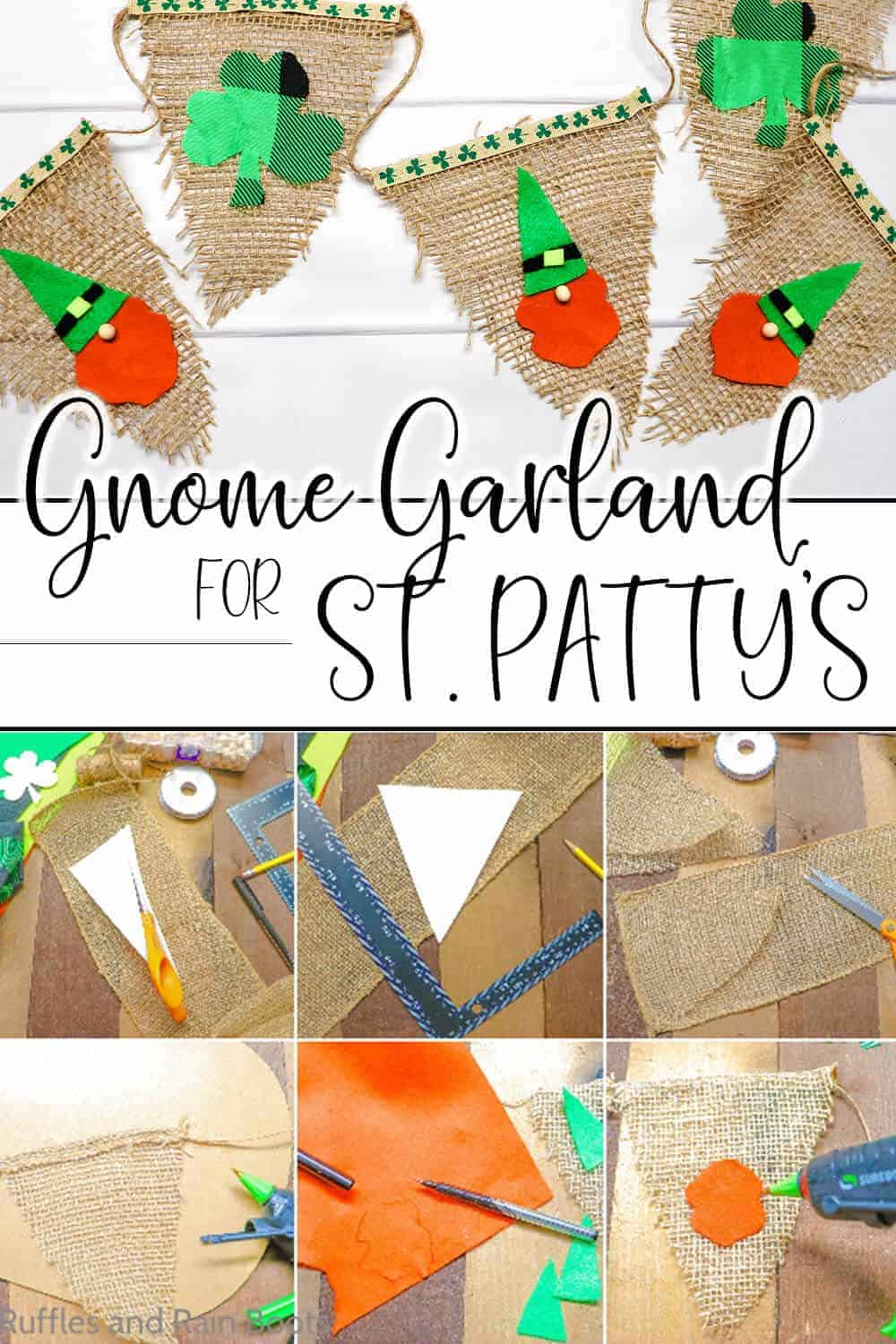 photo collage of how to make a saint patricks day gnome garland with text which reads gnome garland for st. patty's