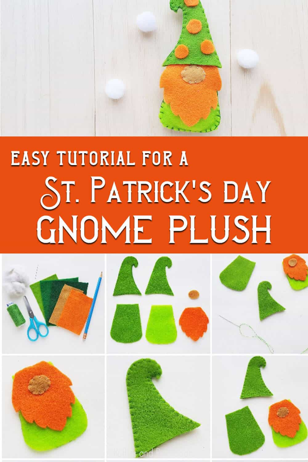 photo collage of how to make a gnome for st. patty's day with text which reads easy tutorial for a St Patricks Day gnome plush