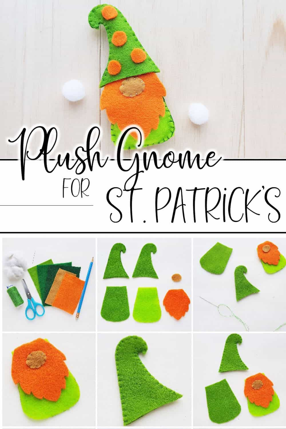 photo collage of how to make a plush gnome for St Patricks Day with text which reads plush gnome for St Patricks Day