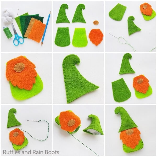 photo collage tutorial of how to make a plush saint patricks day gnome