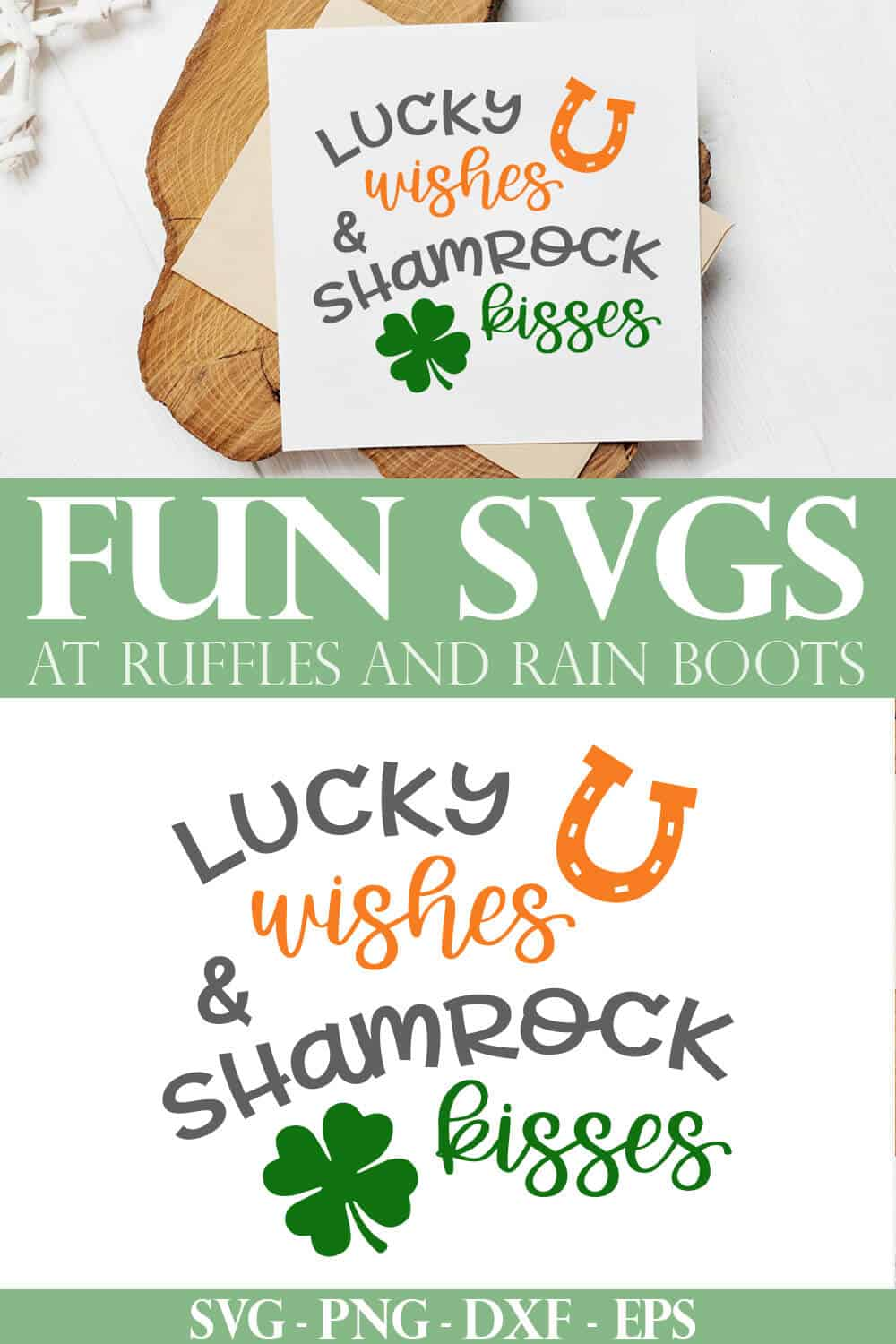 st patricks day cut file lucky wishes and shamrock kisses svg on card stock and wood plank