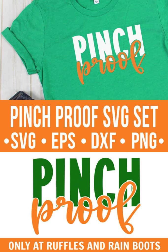 Pinch Proof svg placed on a kelly green t shirt on a white wood background with text which reads pinch proof svg st