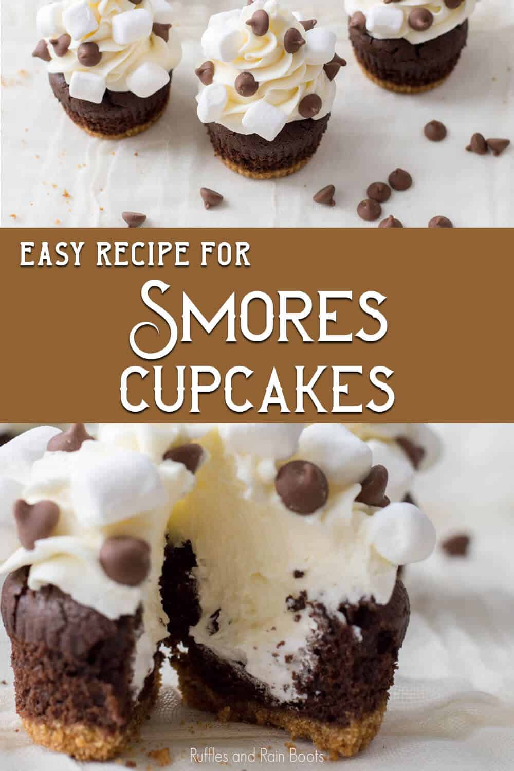 photo collage of easy camping party cupcake decorating idea with text which reads easy recipe for smores cupcakes