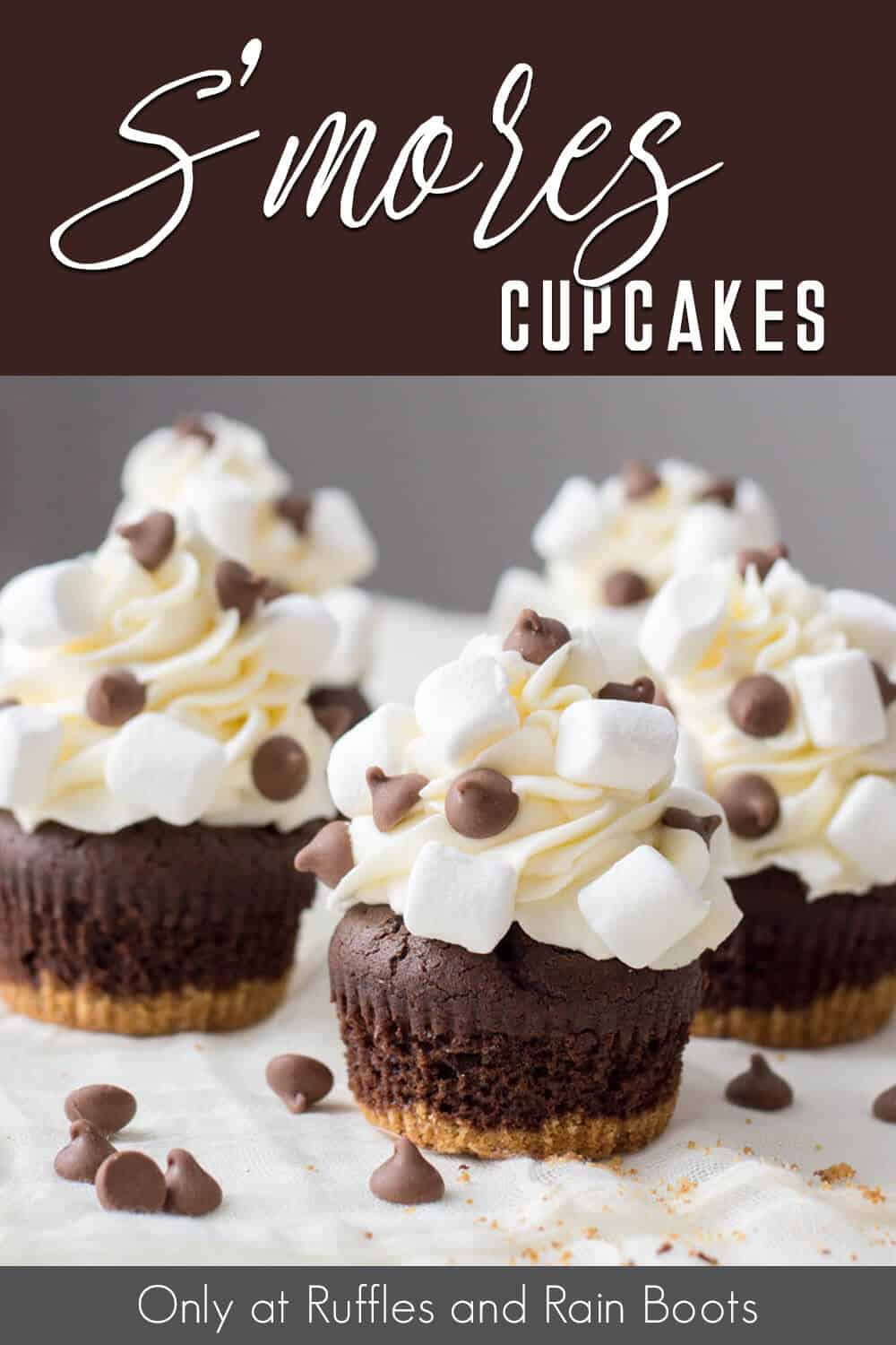 side view of S'mores Cupcakes Recipe with text which reads smores cupcakes