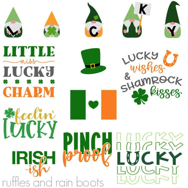 many green white and orange svg files for St patricks day to use on Cricut and Silhouette cutting machines