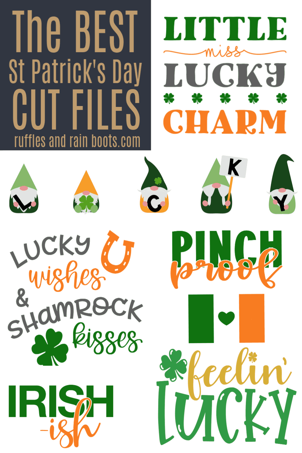 big collage of orange green and white st patricks day svg and cut file collections