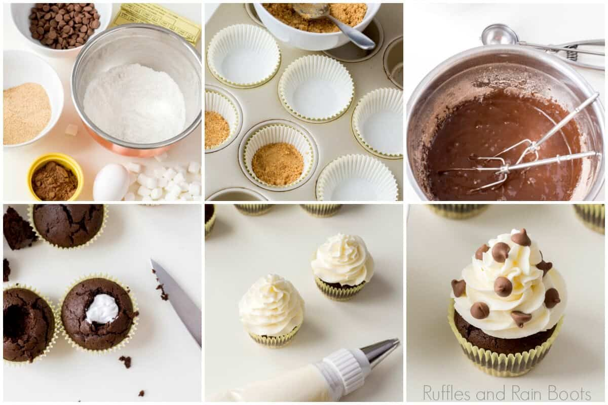 photo collage tutorial of how to make smores cucpakes s'mores summer camp