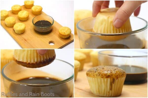 photo collage tutorial of how to make tiramisu cupcakes