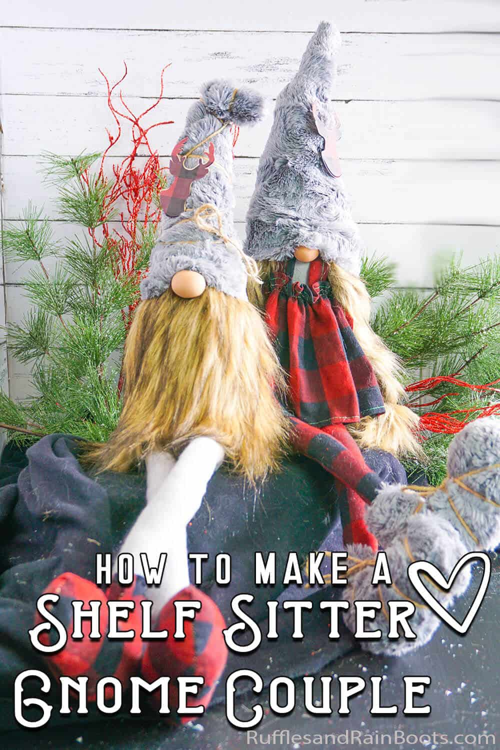 farmhouse gnome couple on a shelf with text which reads how to make a shelf sitter gnome couple
