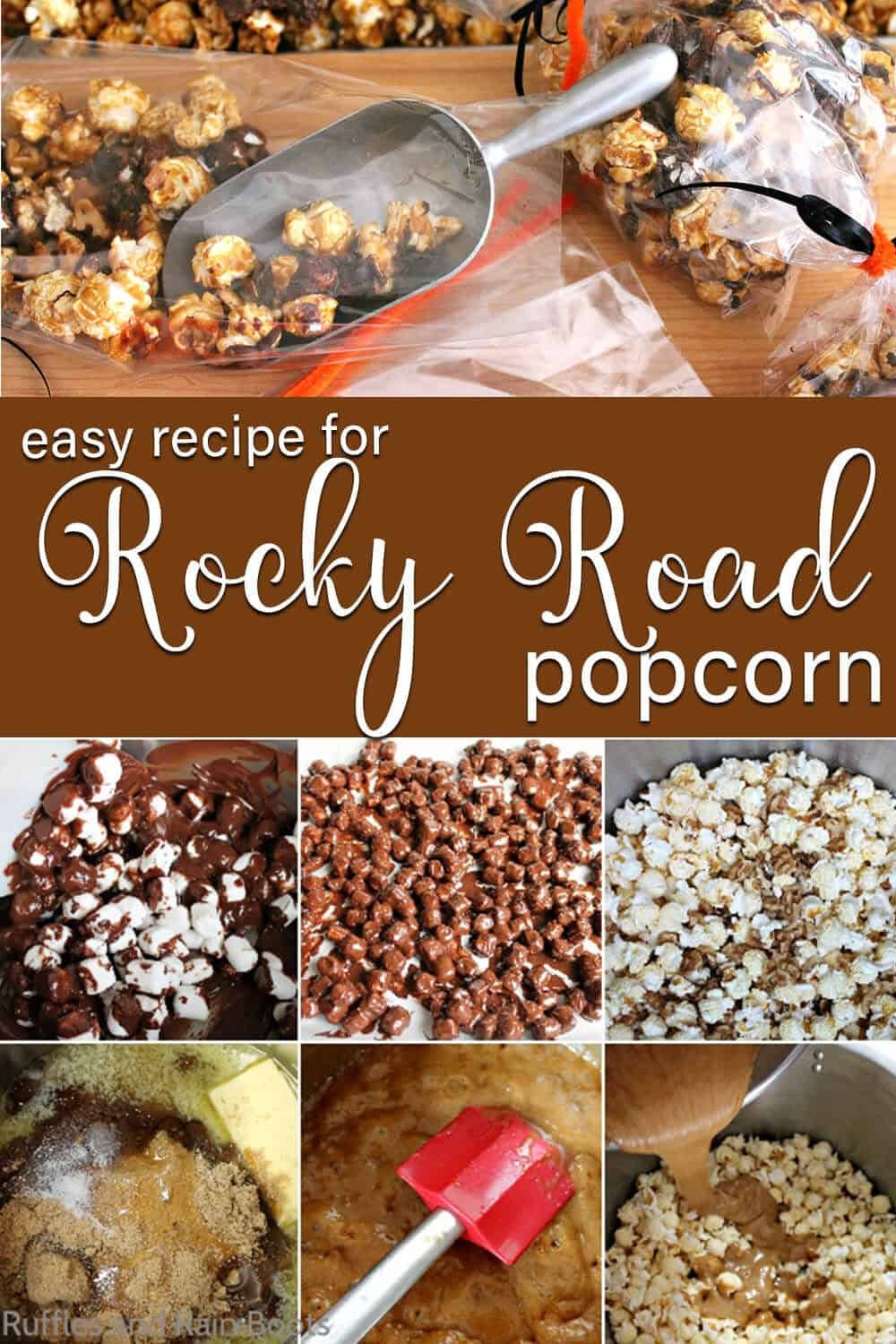 photo collage of easy gourmet popcorn recipe with text which reads easy recipe for Rocky Road Popcorn