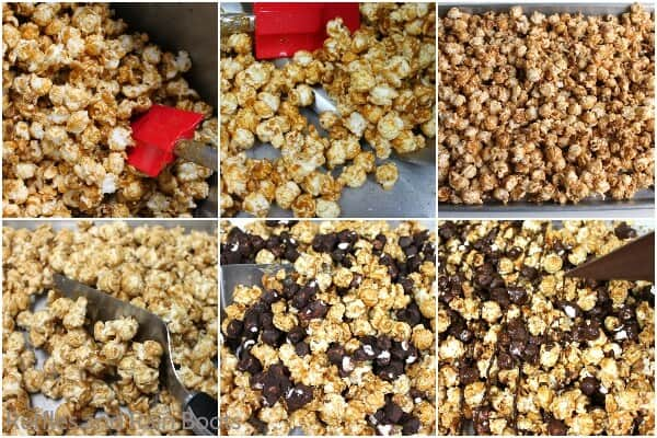 photo collage of how to make Rocky Road Popcorn