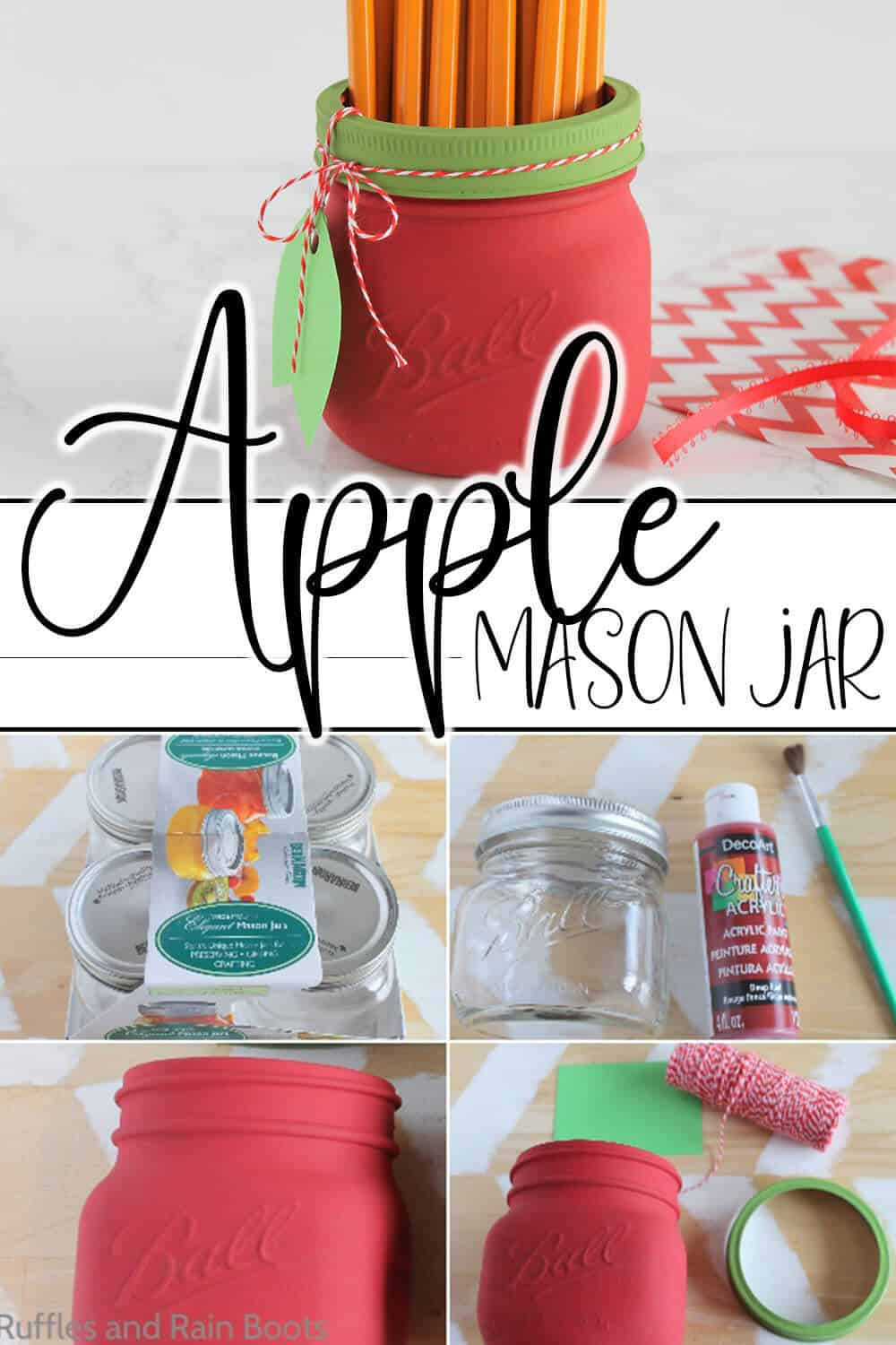 photo collage of easy hand-painted jar apple with text which reads apple mason jar