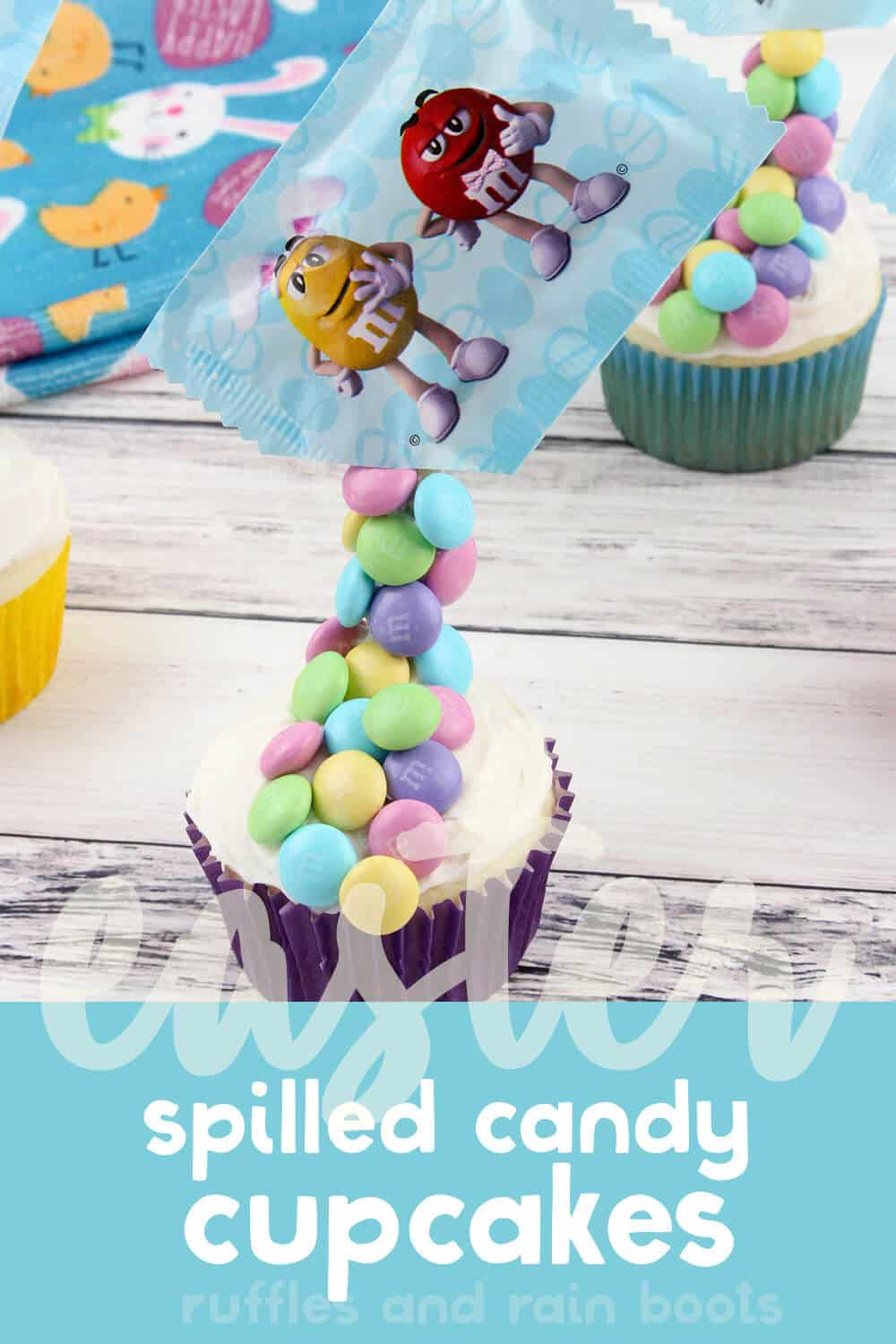 closeup of easy easter cupcake decorating idea with text which reads easter spilled candy cupcakes