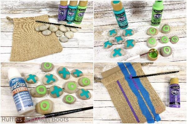 photo collage of how to make a tic tac toe kids activity game