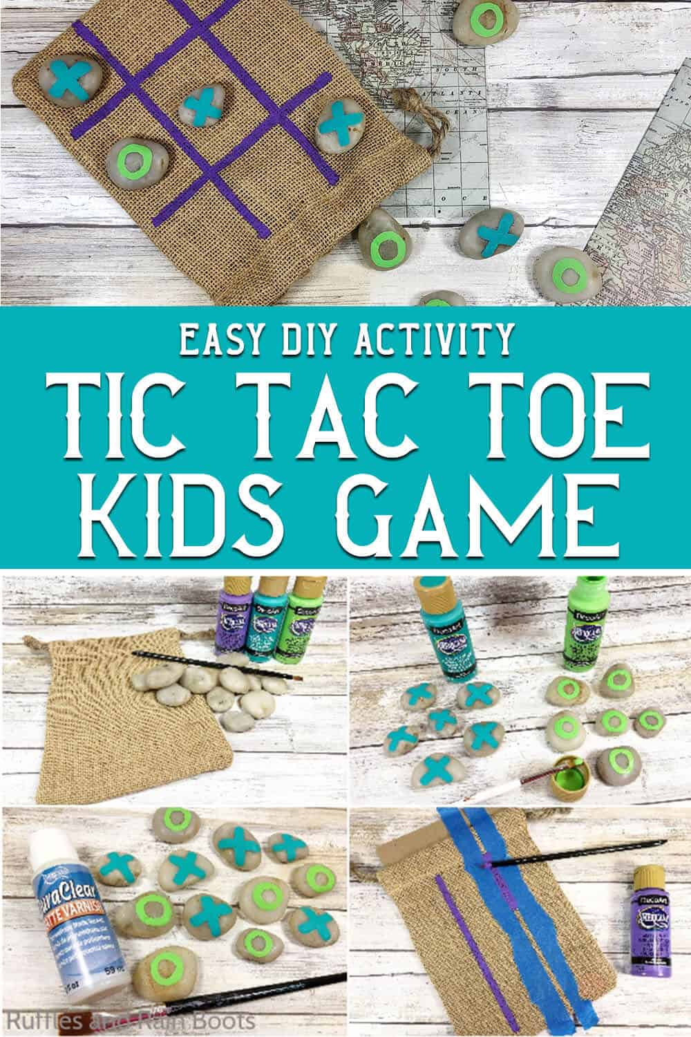photo collage of easy kids activity boredom buster craft with text which reads easy diy activity tic tac toe kids game