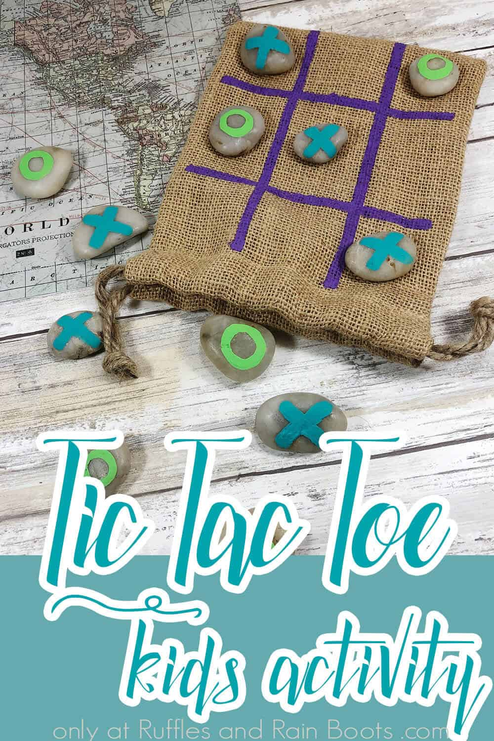 overhead view of painted rock tic tac toe game for kids with text which reads tic tac toe kids activity