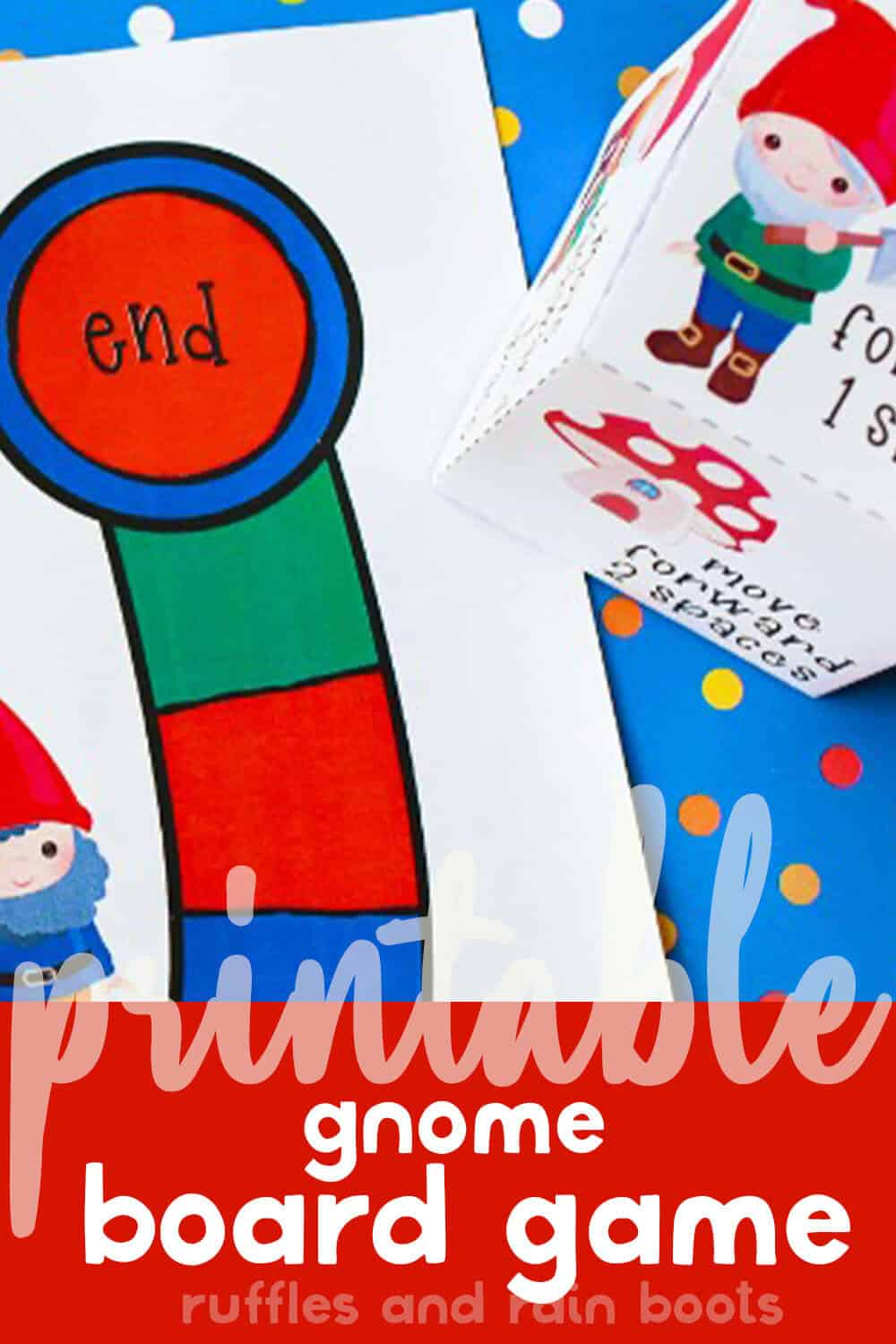 closeup of diy game for kids with text which reads printable gnome board game