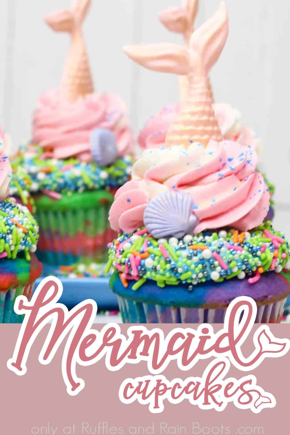 DIY mermaid cupcake recipe you can actually make with text which reads Mermaid Cupcakes