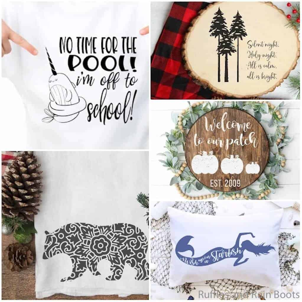 photo collage of free cut files for cricut or silhouette