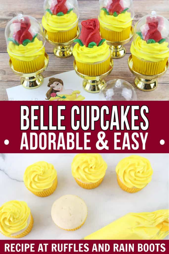 Pin Image Collage of Belle Cupcakes with red background behind the test that reads Belle Cupcakes Adorable and Easy. Shows completed cupcakes as well as just frosted cupcakes