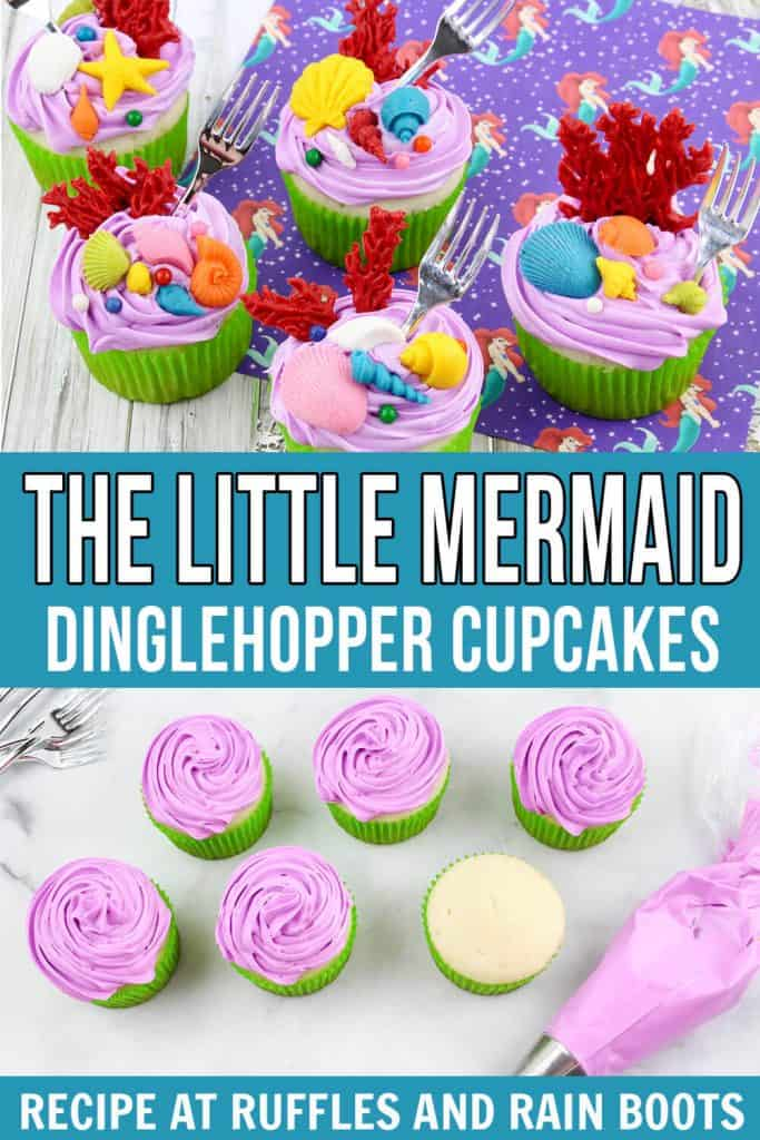 pin image collage of the finished dinglehopper cupcakes and the vanilla cupcakes getting purple frosting added to them with text that says the little mermaid dinglehopper cupcakes.