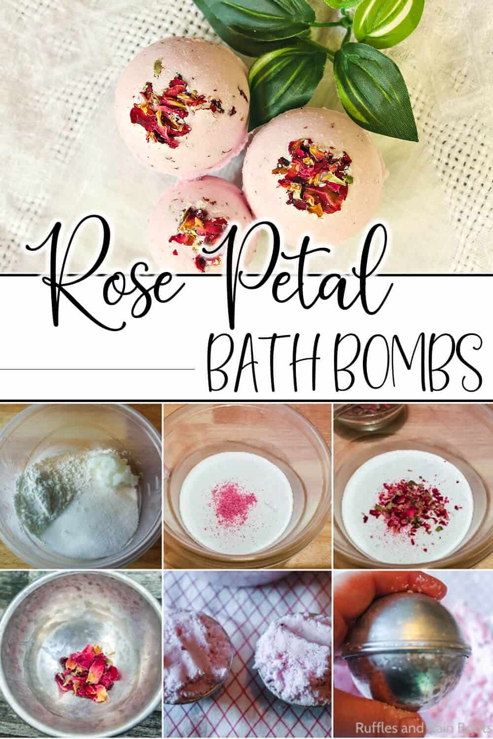 photo collage of easy bath bombs with rose petals in them with text which reads rose petal bath bombs