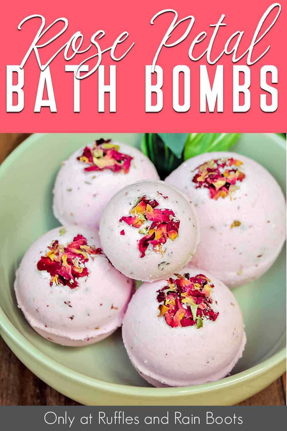 easy diy bath bomb recipe with roses with text which reads rose petal bath bombs