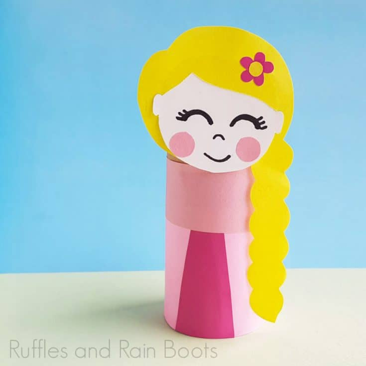 Square Image of Princess Rapunzel Paper Craft on a blue and light green background