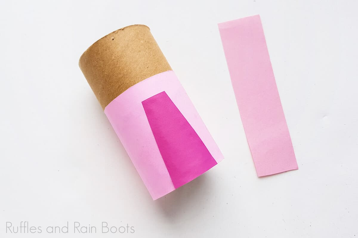 Process Image of making rapunzel's pink dress on a white background.