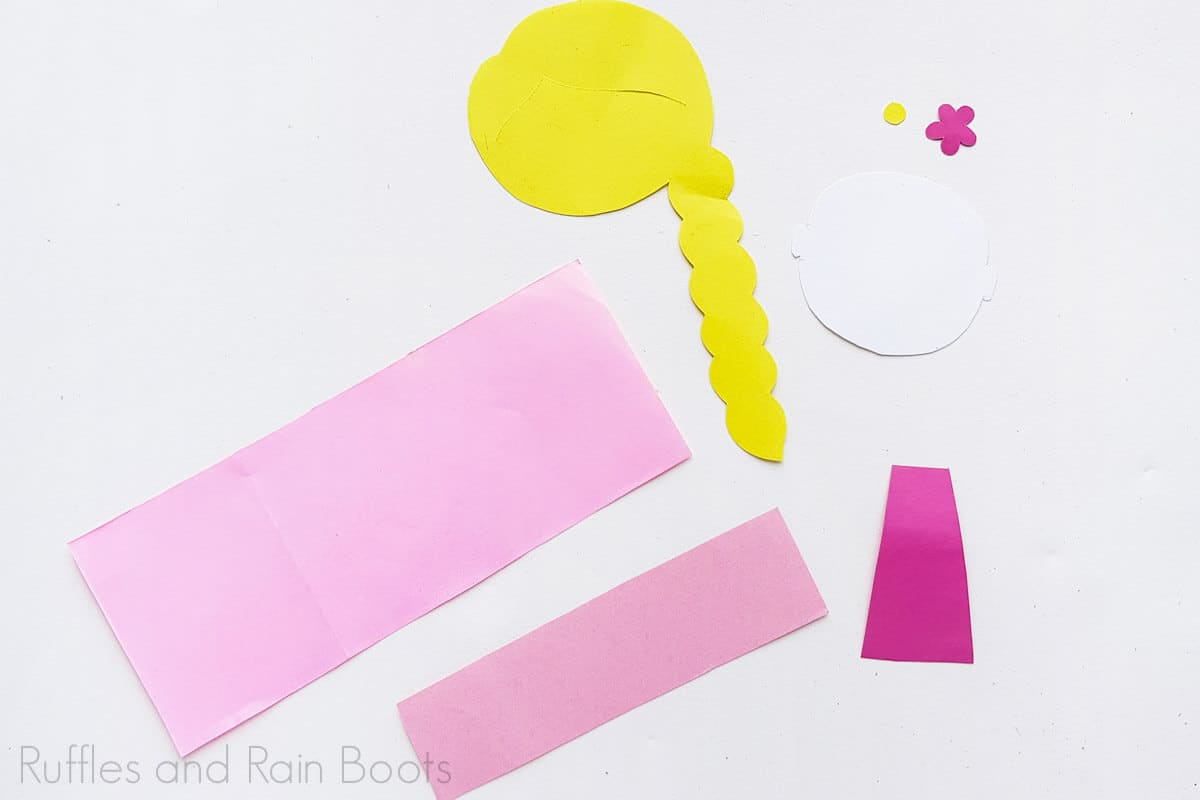 Process Image of all the pieces cut for Princess Rapunzel Craft.
