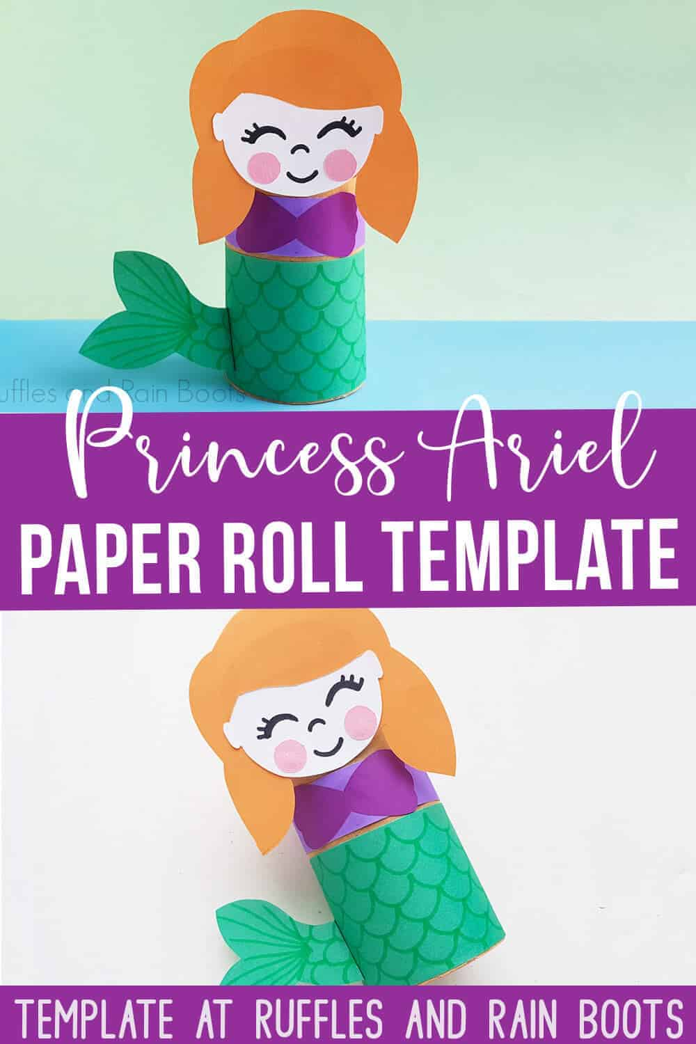 Pin Image Collage of Little Mermaid Paper Craft with Purple blocks that say Princess Ariel paper roll template.